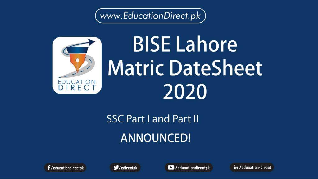 BISE Lahore Matric Datesheet 2020