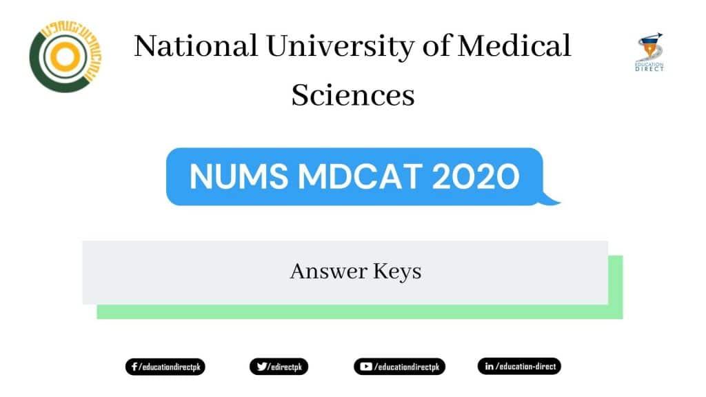 NUMS MDCAT ANSWER KEY 2020