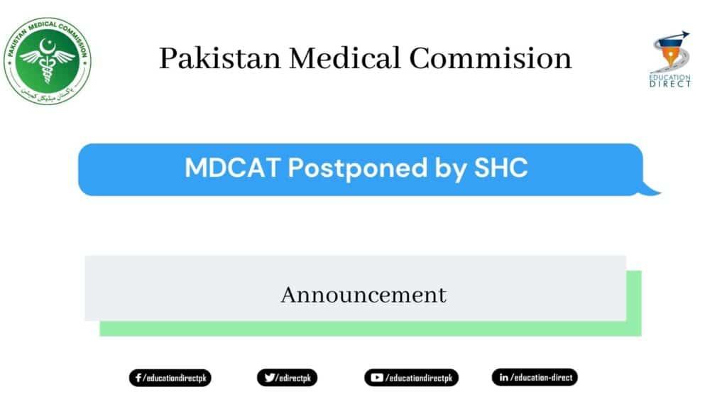 MDCAT 2020 Postponed by SHC