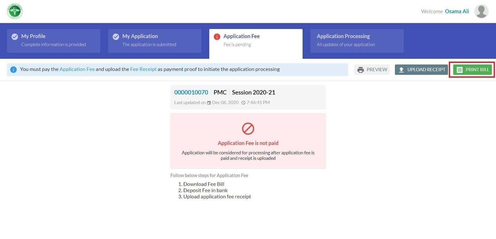 Application Fee-Print Bill 