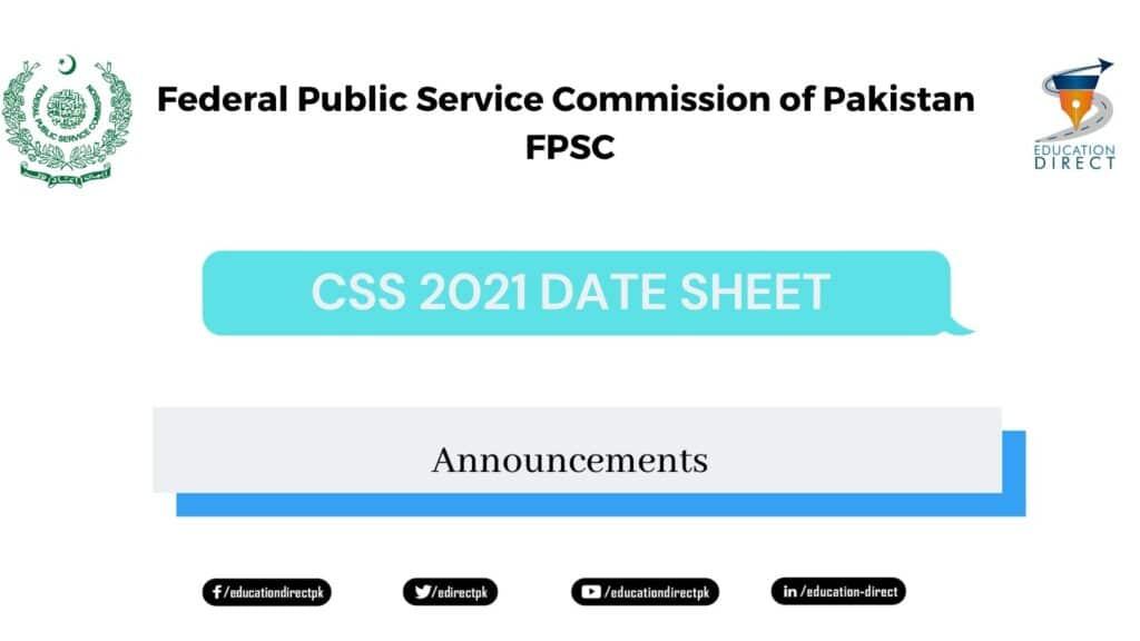 DATESHEET COMPETITIVE EXAMINATION CSS 2021