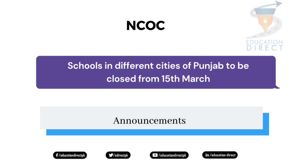 Schools in different cities of Punjab to be closed from 15th March