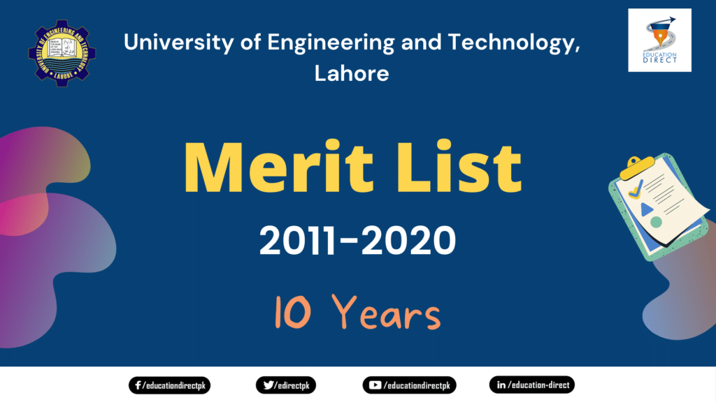 UET Past 10 Years Merit List 2011-2020